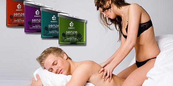 299 Kč za masážní erotickou svíčku Swede. Na výběr z pěti druhů. Uvolnění těla i smyslů.