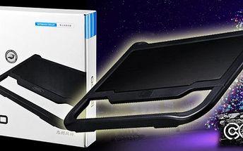 Super nabídka a nápad na Vánoční dáreček! Luxusní chladič pro každý notebook s extra velkým větrákem, USB portem a podsvícením! Kombinace kovu s plastem a ochranou větráku!