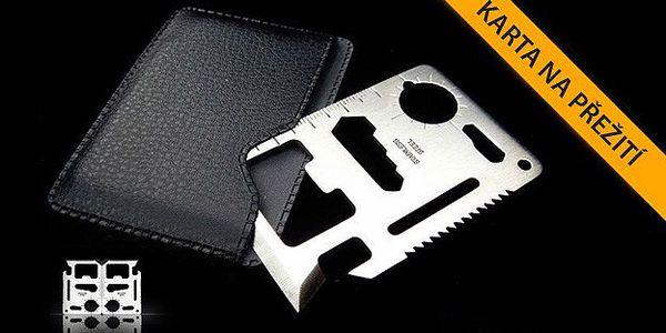 Multifunkční karta na přežití velikostí odpovída kreditní kartě. Obsahuje i praktické pouzdro.