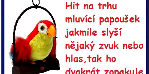 Papoušek který vše opakuje co řeknete dárek k vánocum pro děti za 190kč