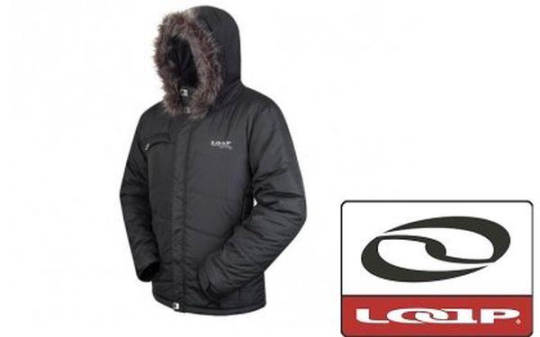 Pánská zimní bunda Loap Bradley – zateplená bunda do města s odepínacím koženým lemem, barva černá. Omezený počert kusů
