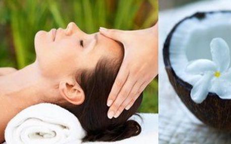 Kokosová relaxační masáž obličeje, krku a šíje.