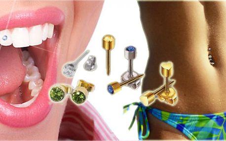 Nastřelení naušnice, zářivý kamínek Swarovski na zub, piercing, stačí si jen vybrat!