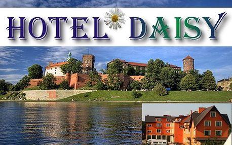2 049 Kč za třídenní pobyt se snídaní pro 2 osoby v Hotelu Daisy Superior*** v polském Krakově! Historické domy a paláce, náměstí s kostely, obchody, stánky s místními specialitami, restaurace, příjemné kavárny a čokoládovny. V Krakově, nejnavštěvovanějším městě Polska, si chvílemi připadáte jako ve Vídni či Florencii. Do vyhlášené metropole na řece Visle se vyplatí zajet si třeba na víkend.