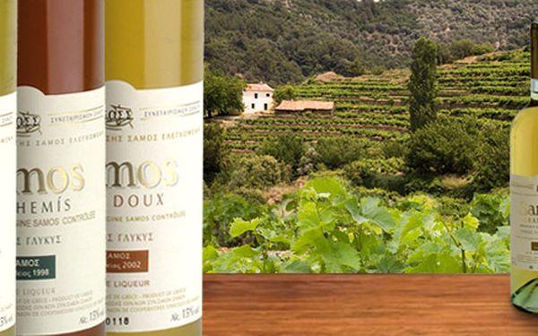 569 Kč za TŘI exkluzivní vína z řeckého ostrova Samos v hodnotě 950 Kč. Jedinečná muškátová vína Anthemis, Grand Cru, nebo Vin Doux se slevou 40 %.