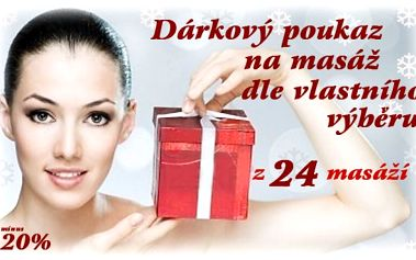 Dárkový poukaz v hodnotě 1.000.- na masáže dle vlastního výběru! Vyberte si ze 24 druhů skvělých masáží !