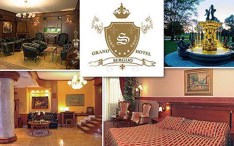 Vánoční akce na 3 dny v Grand hotelu Sergijo**** pro DVĚ osoby za 2900 Kč. Ubytování v elegantních pokojích, polopenze, masáž podle vlastního výběru, kulečník a zapůjčení kol.