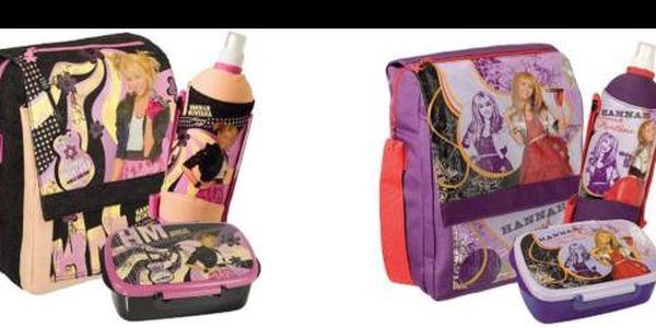 Dárkový set - Brašna, lahev na pití a box na svačinu motivem Hannah Montana za pouhých 460 Kč! Jedinečný dárkový set pro vaše děti nyní se slevou 40%!