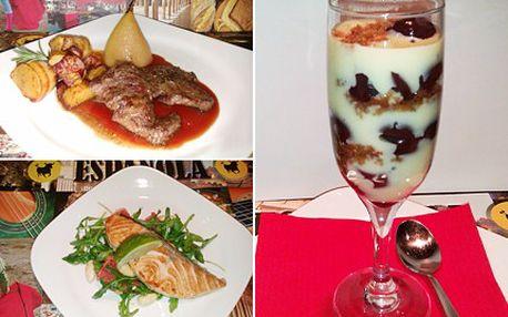 Ochutnejte vybrané delikátní jídlo z našeho menu. Pro dva, za příjemnou cenu. 45% sleva na menu, předkrm- filátko z lososa, hlavní chod- grilované medailonky z jelení kýty na šípkové omáčce a jako desert- višňový cheesecake.