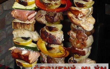 Špízy a slivovice pro 4 s 53% slevou! 6 druhů masa, příloha, omáčky a panák slivovice!
