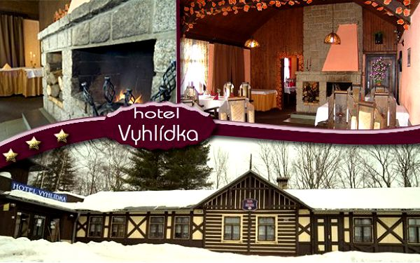 Fantastický zimní pobyt v délce trvání celých 6 dní v romantickém hotelu vyhlídka***!! Za extra cenu 3780 kč získáte ubytování pro 2 osoby + polopenzi (snídaně formou švédských stolů/večeře na výběr ze 3 menu!