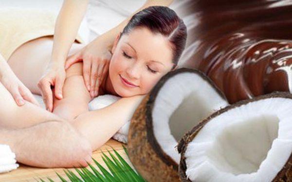 HODINOVÁ ČOKOLÁDOVÁ MASÁŽ pro dvě osoby s 60% slevou jen za 599 Kč!! Peeling pravým kokosem, čokoládová masáž zad a zadní části nohou a čokoládový zábal!! Vemte partnera a ušetřete 901 Kč!!