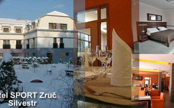 Zveme Vás na Silvestrovský pobyt v hotelu SPORT Zruč na 3 dny a 2 noci pro 2 osoby se snídaní, Silvestrovským menu, vířivkou, saunou, posilovnou. Zábava a balíček služeb se slevou 40%