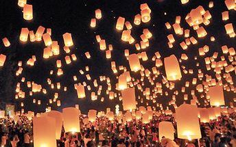 Chcete mít štěstí v novém roce?! Kupte létající lampiony už na Vánoce. 40% sleva na 5 lampionů štěstí tvaru čepice, součástí balení je parafínový článek a návod na bezpečné používání.