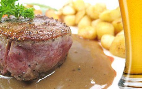Dejte si DVA chutné steaky z mistrovského menu! Dostanete je i s pivem za lákavou cenu. 54% sleva na menu pro dvě osoby - 2x 200g vepřový steak s hořčičnou omáčkou a opečenými brambory plus dvě piva.