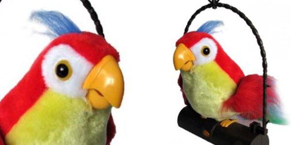 Bezva překvapení pod stromečkem nejen pro děti! Krásný mluvící pohyblivý papoušek - cokoliv uslyší, to zopakuje! Sleva 50%!