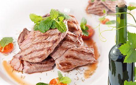 Odskočte si od plotny na steak z telete! Nejlepší jídlo, co v Plzni najdete. 50% sleva na 200g telecího steaku pro DVA, jako příloha 2x 200g noků s hříbkovou omáčkou a láhev červeného italského vína.