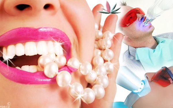 OSLŇTE ZÁŘIVÝM ÚSMĚVEM! Profi bělení zubů zahrnuje konzultaci + stanovení odstínu zubů + ochranný gel na dásně a 2x bělící gel na zuby + 30 min. osvit plazma-lampou! NAVÍC dostanete přípravky na posílení skloviny a doplnění minerálů!