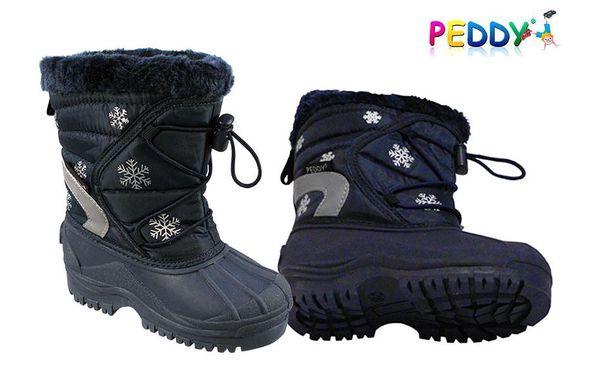 Kvalitní dětské sněhulky Peddy na zimní radovánky za skvělou cenu 449 Kč. Protiskluzová podrážka. Uvnitř pohodlný kožíšek.