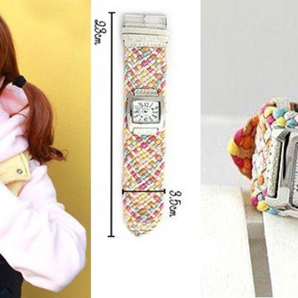 Elegantní provazové hodinky SINOBI s kovovým ciferníkem a pleteným náramkem, udělejte si radost a udělejte dojem! Poštovné pouze 25 Kč!
