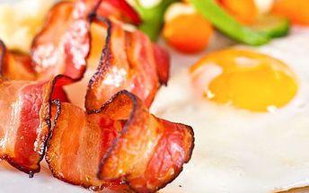 Vychutnejte si Ameriku na talíři! Ochutnejte American BREAKFAST MENU v celé šíři. 51% sleva na pravou americkou snídani- míchaná vejce, opečená slanina, párečky, grilovaná zelenina, toasty a neomezené množství kávy či čaje.