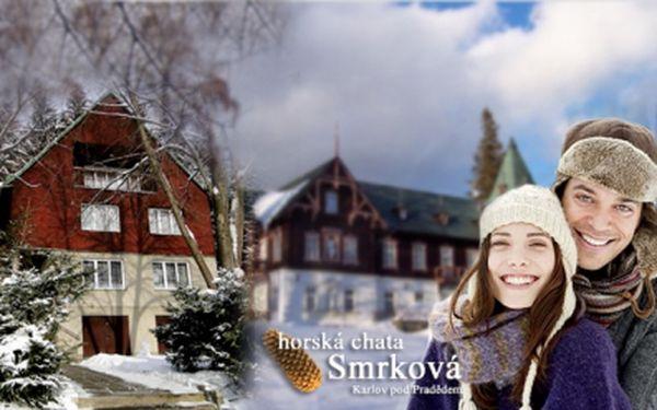 Třídenní pobyt pro 2 osoby v chatě Smrková v překrásné přírodě Jeseníků za 840kč! Sleva 40%! Užijte si zimní dovolenou v překrásné přírodě kousek od Pradědu!