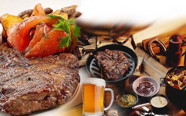 Skvělý zážitek pro všechny milovníky dobrého jídla! STEAK na grilu z uruguayského mladého býčka s přílohou a omáčkou dle Vašeho výběru a TANKOVÉ PIVO. Vše jen za 99 Kč!