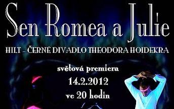 Máme pro vás jedinečný tip na Valentýna! Za pouhých 350 Kč prožijte dokonalou romantiku ve dvou na světové premiéře SHOW ČERNÉHO DIVADLA: SEN ROMEA A JULIE! Nechte se strhnout nestárnoucím příběhem a kouzlem černého divadla a to s 50% slevou!!