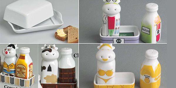 STYLOVÍ POMOCNÍCI PRO VAŠI DOMÁCNOST – porcelánová máselnička a úsměvná pepřenka se solničkou za 295 Kč! Vyzdobte si vaši kuchyň s 51% slevou!