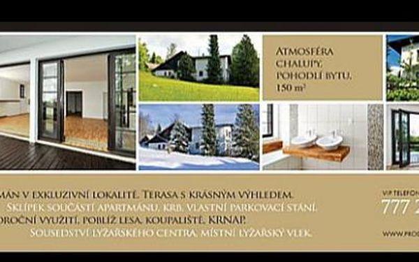 Prodej vyjímečného apartmánu 120m2 a s terasou 40m2 přímo u vleku v Krkonoších se slevou 1mil Kč.