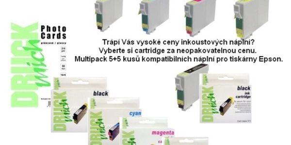 344 Kč za multipack 5+5 kusů kompatibilních náplní pro tiskárny Epson. Navíc obdržíte kvalitní foto papír 10x15 50 ks. A to vše včetně dopravy. Trápí Vás vysoké ceny inkoustových náplní? Vyberte si cartridge za neopakovatelnou cenu.