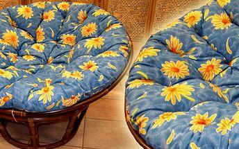 Ratanový nábytek - ratanové křeslo papasan je vyrobeno z přírodního ratanu s barvou ratanové konstrukce odpovídající fotografii výrobku, cena včetně polštáře s barevným motivem!