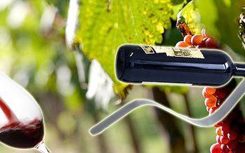 Stylový nerezový stojan na víno ve tvaru vlny za skvělých 389 Kč. Designový dárek nejen pro milovníky vína.