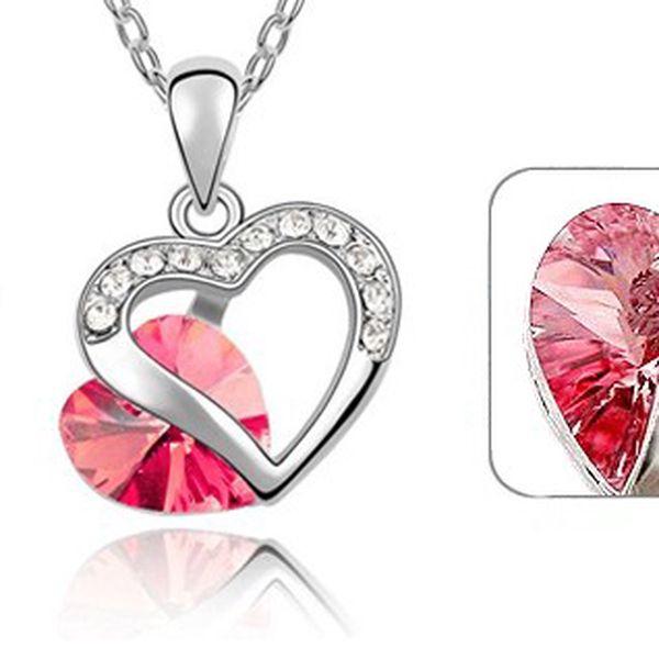 Luxusní přívěšek s broušeným růžovým srdíčkem a stříbrnými kamínky z chirurgické oceli i s řetízkem 40 cm! Poštovné pouze 25 Kč!