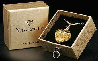 Zahrňte přítelkyni luxusem! Zlatým ŠPERKEM pro ženu se vkusem. 72% sleva na zlatý přívěsek ve tvaru srdíčka značky Yves Camani. Nádherný šperk s plátky 24karátového zlata na pozlaceném řetízku v dárkové krabičce.