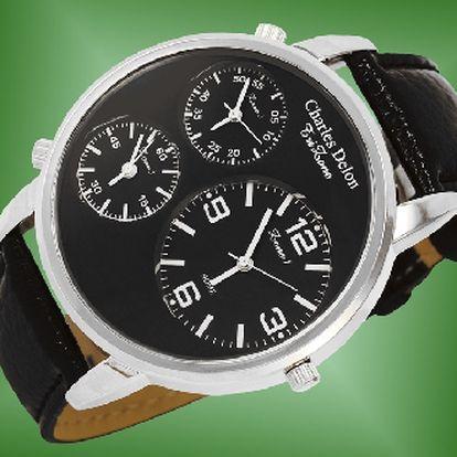 Originalní pánské hodinky charles delon 4714 - tři nazavislé ciferniky!