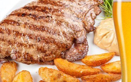 Zakousněte se do pořádného masa! Steak s hořčičnou omáčkou je vážně klasa. 50% sleva na vepřový steak pro 2 osoby s hořčičnou omáčkou a opečené brambory + 2 piva.
