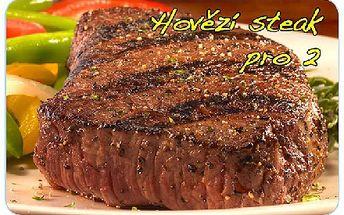 Americké steaky z mladého býčka pro 2, rozmarýnové brambory, grilovaná zelenina a láhev skvělého červeného vína.
