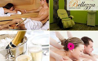 Valentýnský relaxační balíček pro DVA, dopřejte si masážní křeslo, infrasaunu, ruční masáž kokosovou či lávovými kameny, láhev sektu!