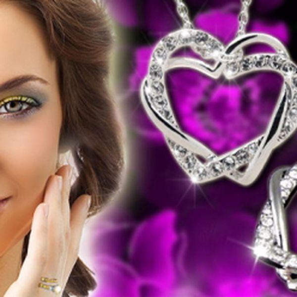 Romantická velká propletená srdce pozlacená 18k bílým zlatem osázená krystaly v brusu SWAROVSKI s řetízkem za bezkonkurenčních 349 Kč! Skvělý dárek ke sv. Valentýnu.