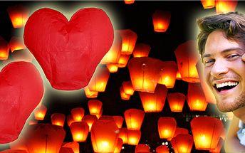 Valentýn se blíží! Jedinečná nabídka 2 ks nádherných létajících lampiónů ve tvaru srdce!