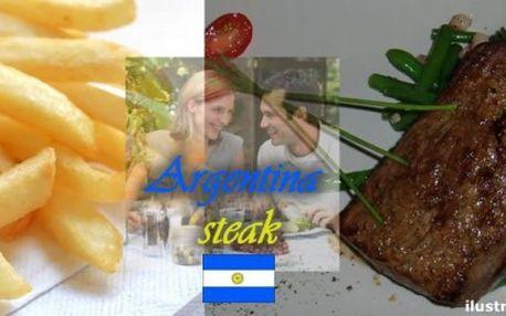 """Úžasná hostina v Praze se slevou 52%. Steak """"Argentina"""" pro 2 osoby s přílohou a steakovou omáčkou. 2 x 250g steak s oblohou zelených fazolek a anglické slaniny, hranolky, steaková omáčka."""