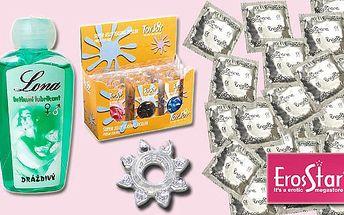 """BRNO - 299 Kč za """"Valentýnský žhavý balíček"""". 50 kondomů, lubrikační gel a škrtící kroužek. Skvělý dárek pro zamilované se slevou 47%."""