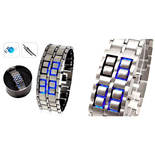 UNIKÁTNÍ LED hodinky SAMURAJ ve stříbrném provedení s MODRÝM LED zobrazením času a data za 285 Kč s kovovou elegantní krabičkou na uložení!