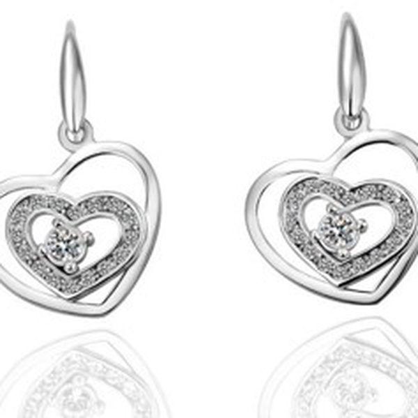 Překrásné valentýnské šperky Swarovski Elements - set náušnic ve tvaru srdíčka