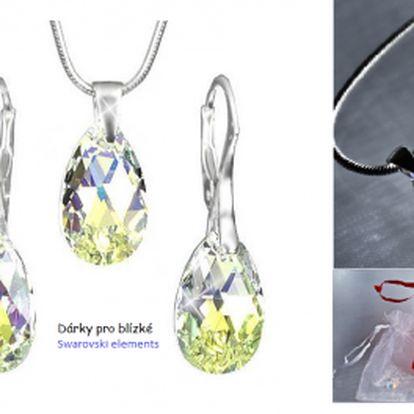 Valentinská nabídka! Jedinečný a originální set šperků se Swarovski Elements ve tvaru hrušky barva AB. Za neuvěřitelnou cenu 449 Kč získáte tento přívěšek a náušnice, včetně poštovného a dárkového balení! Potěšte svou milou nádherným dárkem!