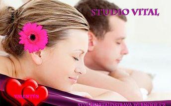 Valentýnská MASÁŽ PRO DVA v délce 40 nebo 90 minut již od 203 Kč! Prožijte nejen svátek zamilovaných zároveň se svým miláčkem, a to při svíčkách a relaxační hudbě.