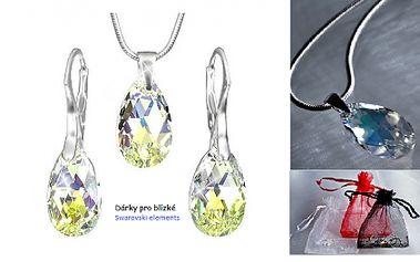 Jedinečný a originální set šperků ze stříbra Ag 925 se Swarovski Elements ve tvaru hrušky barva AB. Za neuvěřitelnou cenu 499 Kč získáte tento přívěsek a náušnice, včetně POŠTOVNÉHO a dárkového balení! Potěšte svou milou opravdovým klenotem!