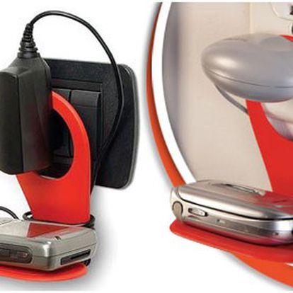 Praktický držák na mobil k nabíječce v úžasných barvách. Už nehledejte mobil kdesi ve změti drátů během nabíjení.