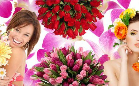Jakékoliv květiny v hodnotě 600 Kč! Vyberte si sami jaké květiny chcete, výběr z více jak 300 květin denně! Sleva se vztahuje i na květiny v květináči!